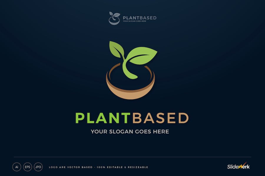 Plant Based Vegan Sprout Logo Template