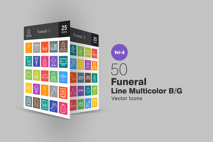Thumbnail for 50 Funeral Line Multicolor B/G Icons