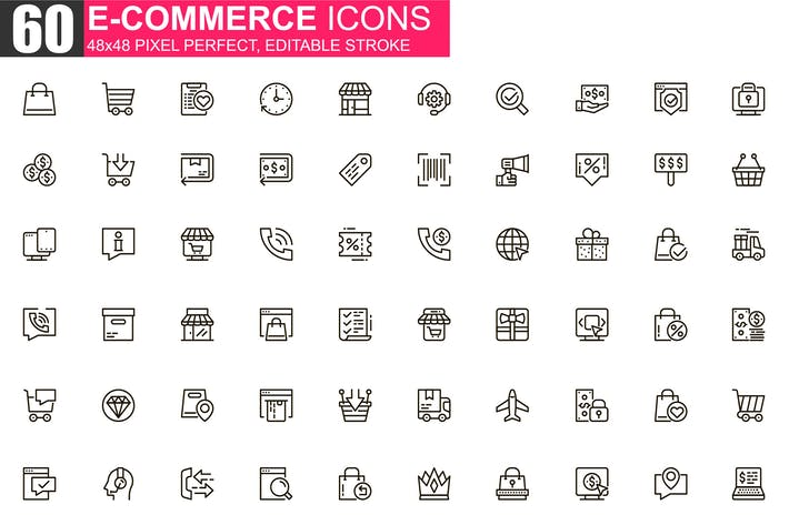 Thumbnail for E-commerce Thin Line Icons Pack