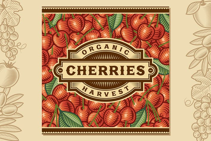 Cover Image For Retro Cherry Harvest Label