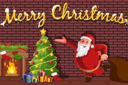 Santa Claus celebrando la Navidad