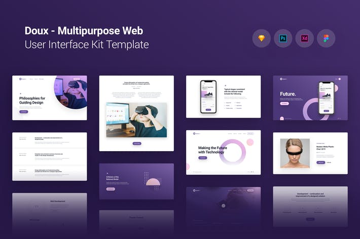 Thumbnail for Doux Multi-purpose Web UI UX Kit Template Theme
