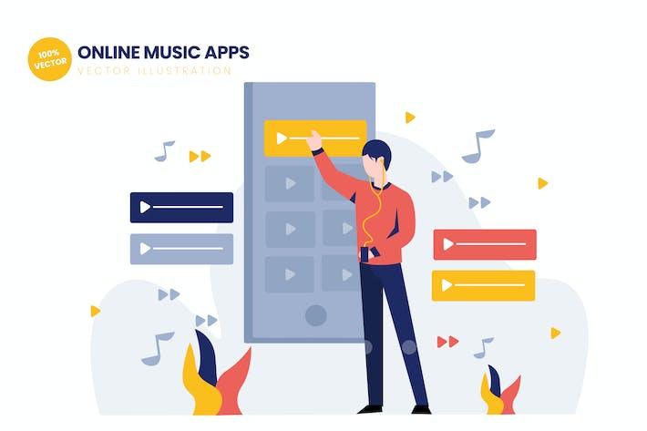 Thumbnail for Online Music Apps Flat Vector Illustration