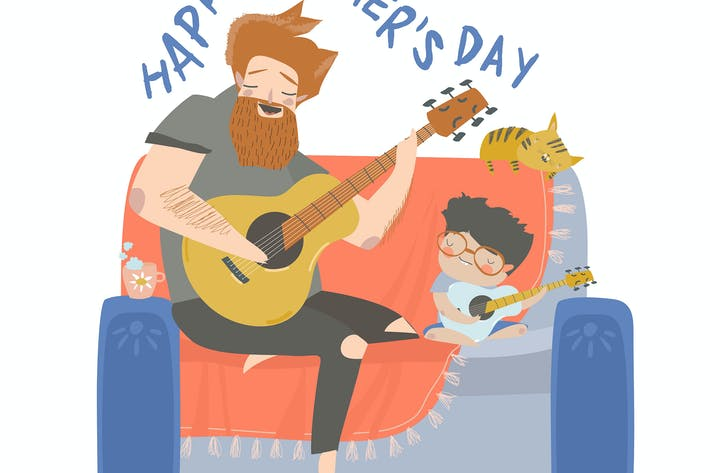 Thumbnail for Cartoon vector illustration of father playing guit