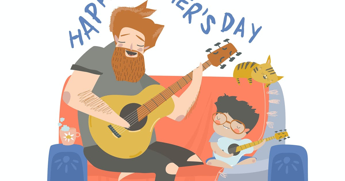 Download Cartoon vector illustration of father playing guit by masastarus