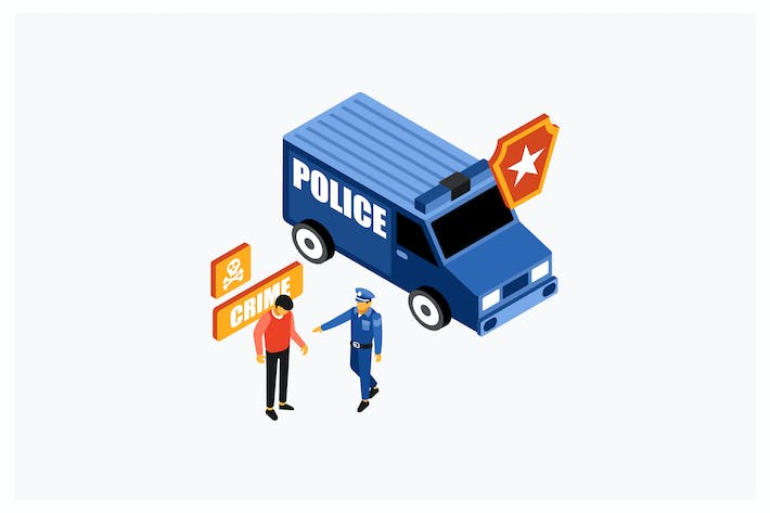 Thumbnail for Isometric Police Catch A Criminal Illustration