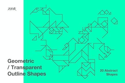 Geometrische transparente Umrissformen