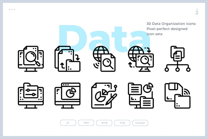 30 Data Organization icons