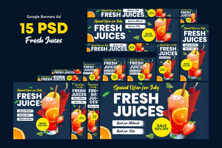 Thumbnail for Fresh Juices, Smoothies Banners Ad