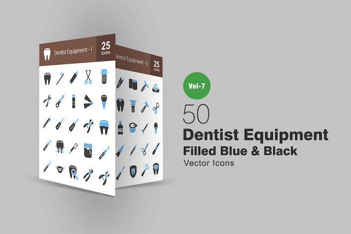 Thumbnail for 50 Dentist Equipment Blue & Black Icons