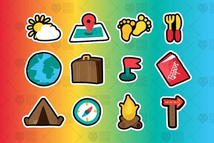 Reise- und Camping-Sticker Set