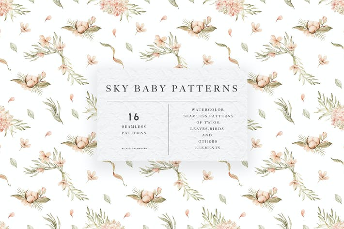 Thumbnail for Watercolor Sky Baby Patterns