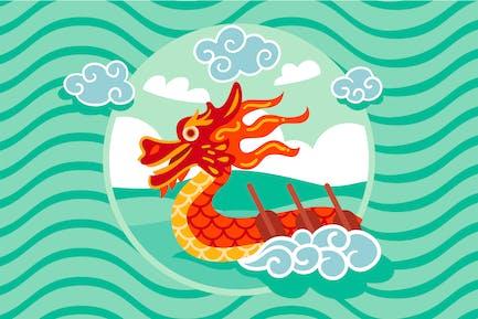 Flacher Drachen-Boot-Hintergrund