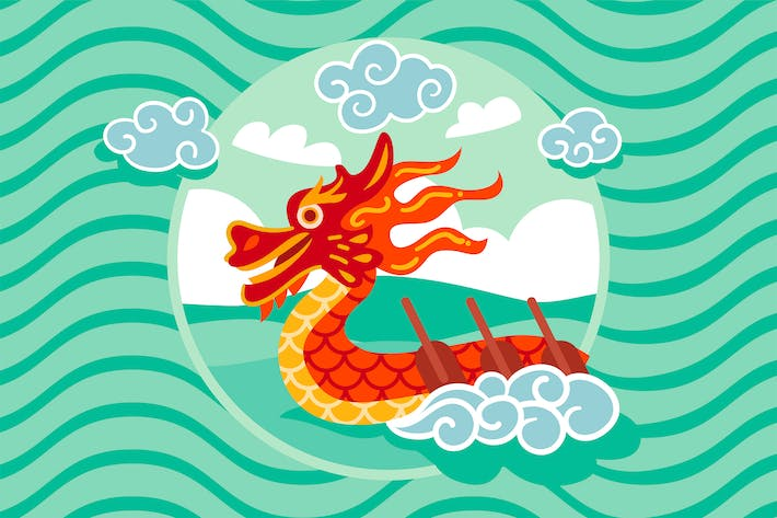Thumbnail for Flat Dragon Boat Background
