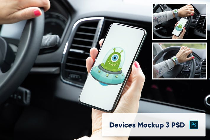 Thumbnail for Smart Watch and Phone in Car Interior Mockup 3 PSD