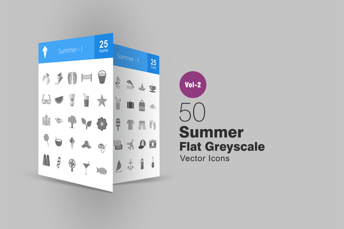 Cover Image For 50 Summer Greyscale Icons