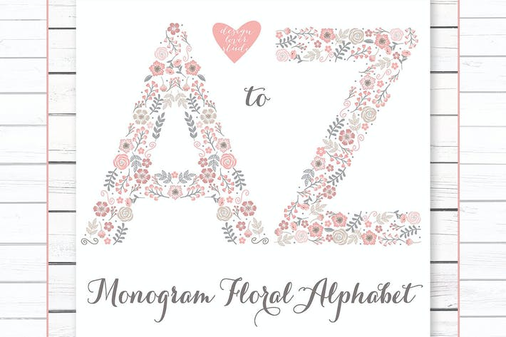 Thumbnail for Premium Alphabet flower, monogram