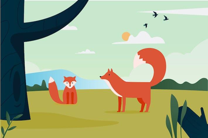 Thumbnail for Orange Fox Illustration