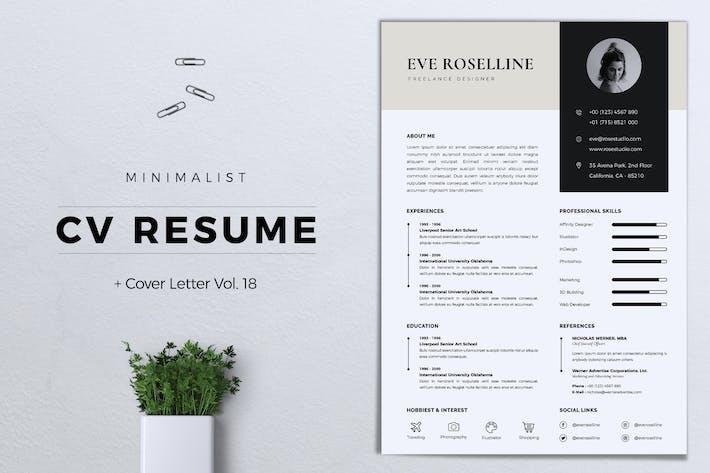 Thumbnail for Minimalist CV Resume Vol. 18