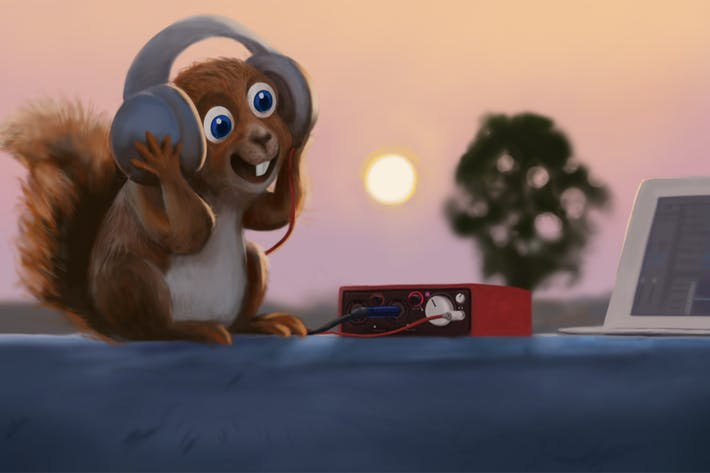 Thumbnail for Squirrel Enjoy Music Hand Drawn Digital Painting