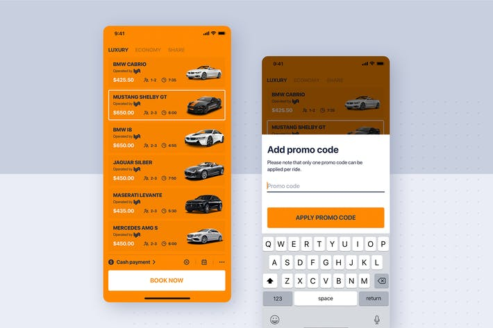 Thumbnail for Car rental mobile UI Kit - Add promo code
