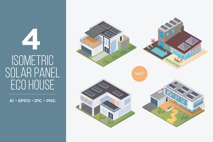 Isometric Solar Panel Eco House Vector Set 1