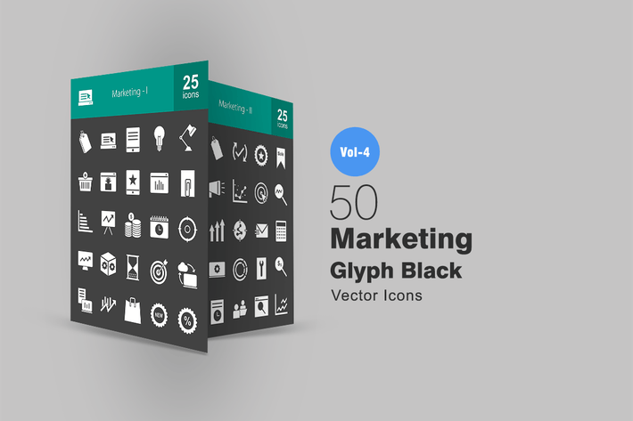 Thumbnail for 50 Marketing Glyph Inverted Icons