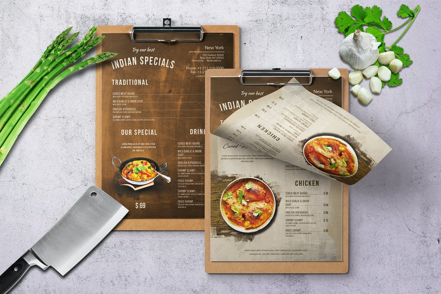 Indian A4 & US Letter Single Page Food Menu