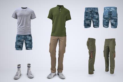 Cargo-Shorts und Cargohose Mock-Up