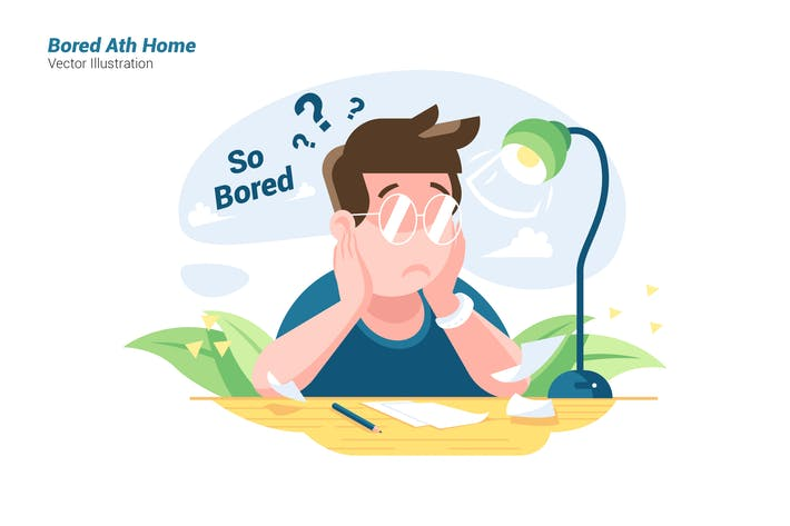 Thumbnail for Bored At Home - Vector Illustration
