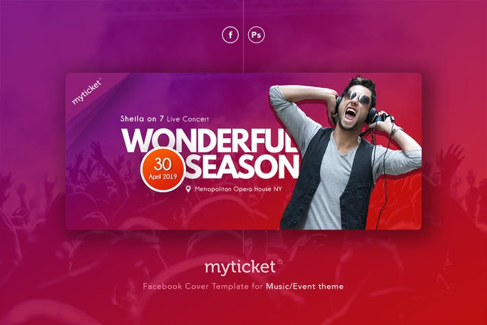Thumbnail for MyTicket - Event Music Facebook Cover Template