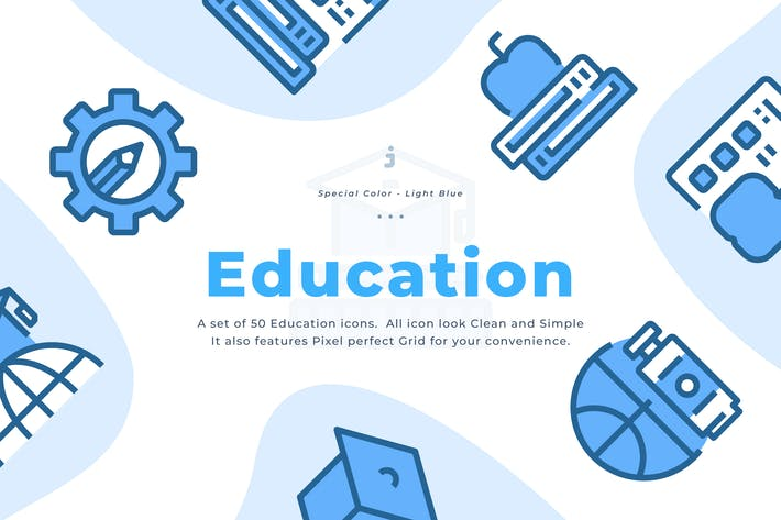 Thumbnail for 50 Education and Learning Icons - Light Blue