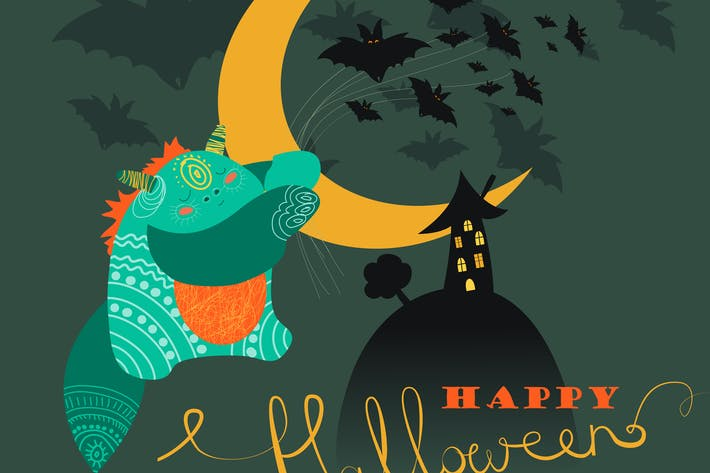 Thumbnail for Cute monster with bats.Happy halloween. Vector