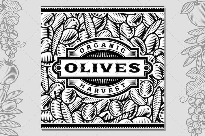 Thumbnail for Retro Olive Harvest Label Black And White