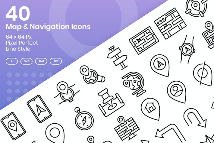 Thumbnail for 40 Map & Navigation Icons Set - Line