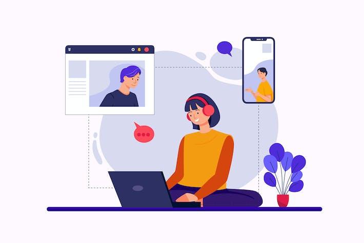 Thumbnail for Mitarbeiter Teamwork arbeiten von zu Hause aus