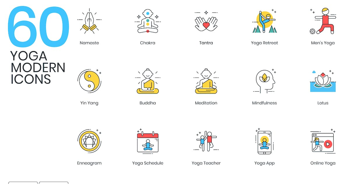 Download 60 Yoga Modern Icons by Krafted
