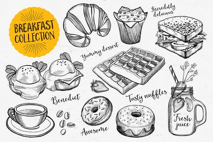 Frühstück Lebensmittel Elemente