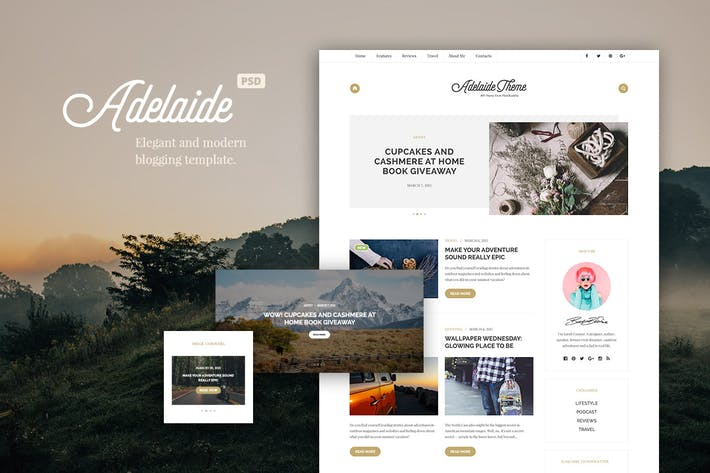 Thumbnail for Adelaida Blogging PSD Template