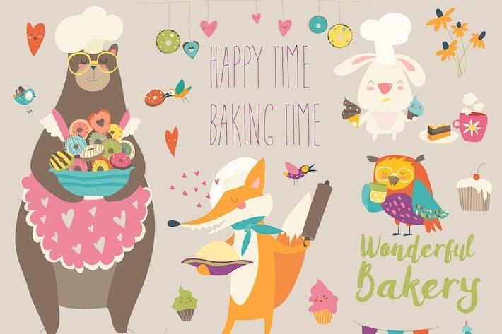 Thumbnail for Vector cartoon set animals baking the sweets