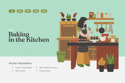 Backen in der Küche Illustration