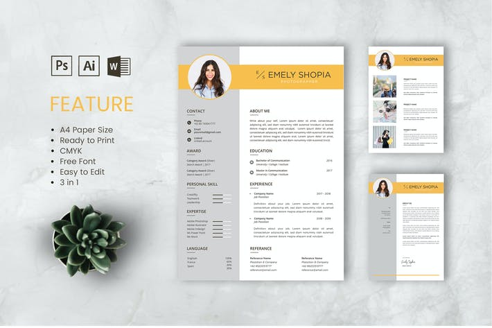 Thumbnail for Professional CV And Resume Template Emily