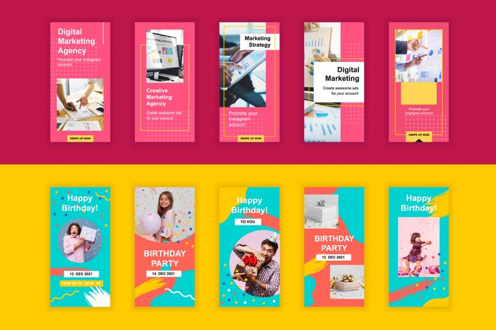 Thumbnail for Marketing and Birthday Instagram Stories Template