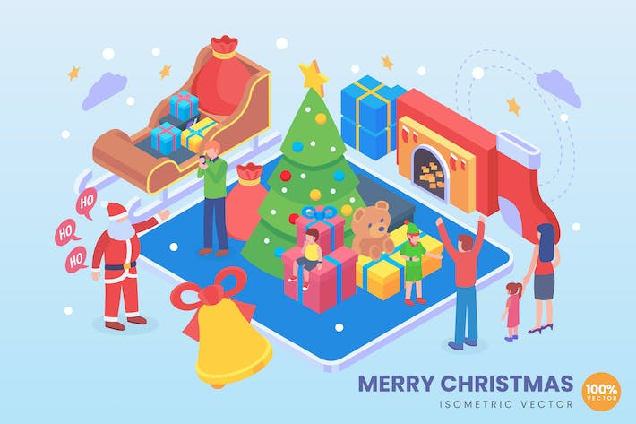 Thumbnail for Isometric Merry Christmas Vector Concept