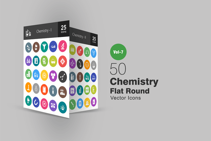 Thumbnail for 50 Chemistry Flat Round Icons
