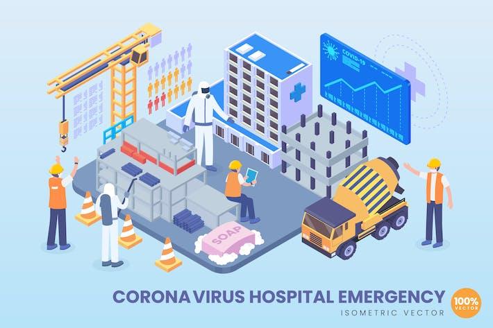 Isometric Corona virus Hospital Emergency Vector
