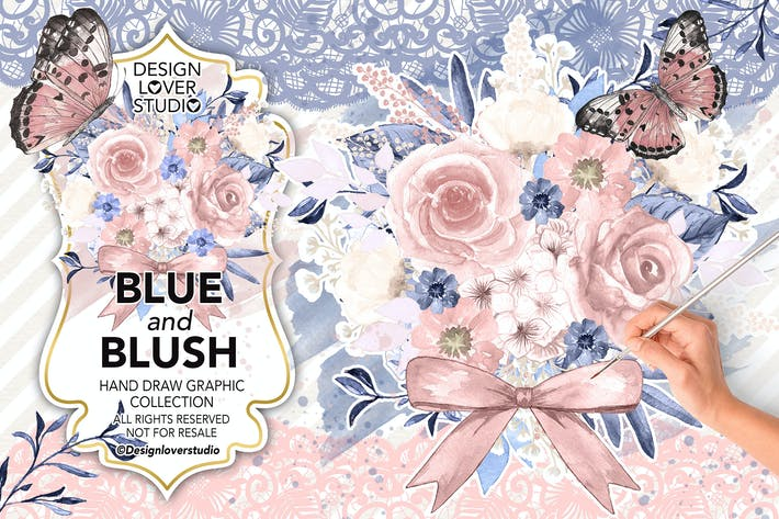 Thumbnail for Watercolor BLUE and BLUSH design