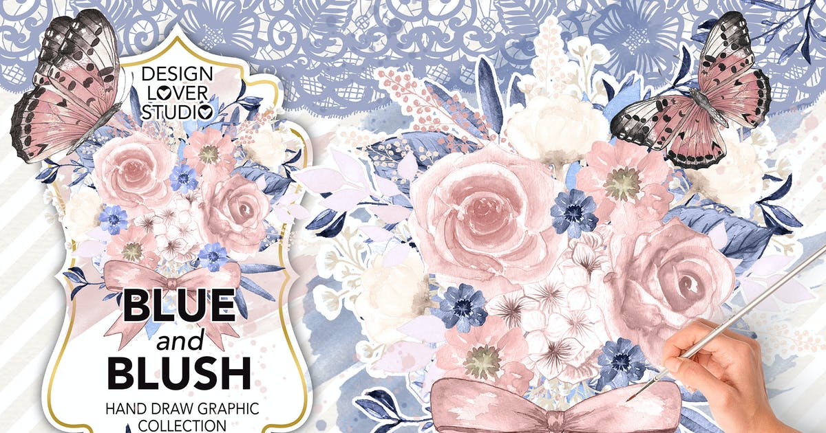 Watercolor BLUE and BLUSH design by designloverstudio