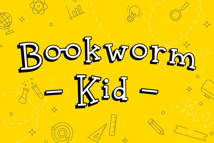 Thumbnail for Bookworm Kid Fun Display Font