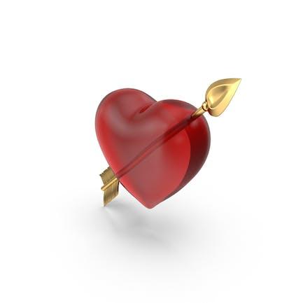 Klares Herz mit goldenem Pfeil